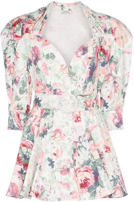 ATTICO floral-print belted stretch-cotton dress