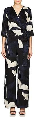 Warm Women's Floral Silk Jacquard Jumpsuit