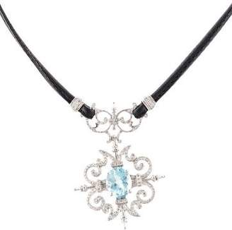 Paul Morelli 18K Aquamarine & Diamond Garden Gate Pendant Necklace