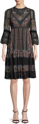 Etro 3/4-Sleeve Paisley-Print Peasant Dress w/ Lace