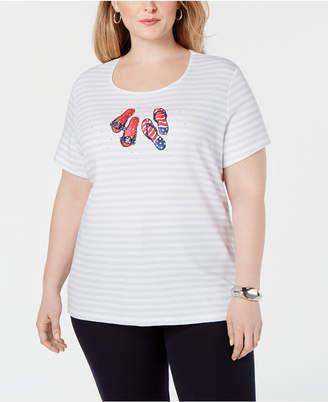 Karen Scott Plus Size Embellished Flip Flop Striped T-Shirt