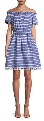 Eliza J Petite Striped Cotton A-line Dress