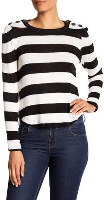 Splendid Button Shoulder Stripe Sweater