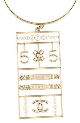 Chanel Faux Pearl Logo Pendant Necklace