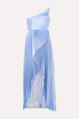 Semsem One-shoulder Asymmetric Pleated Silk And Lurex-blend Gown - Blue