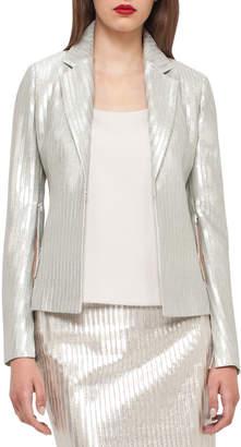 Akris Ibis Fitted Metallic Jacket, Silver