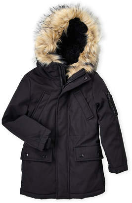 S13 Boys 4-7) Black Faux Fur Trim Hooded Coat