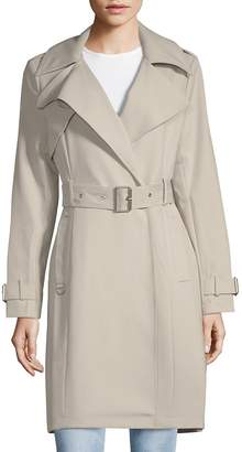 French Connection Women's Notch Lapel Belted Trench Coat