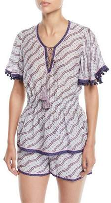 Talitha Collection Amyra Zigzag-Print Tunic Blouse w/ Tassel Ties
