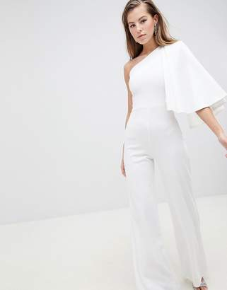 Club L One Shoulder Cape Sleeve Detailed Jumpsuit