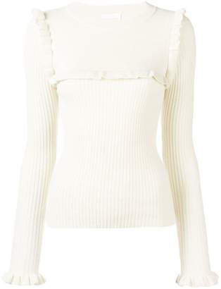 See by Chloe ruffle detail contrast knitted sweater