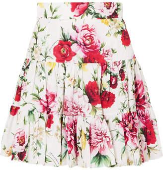 Dolce & Gabbana Floral-print Cotton Mini Skirt - White