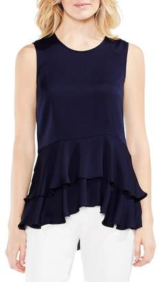 Vince Camuto Sleeveless Tiered Ruffle Hem Satin Blouse