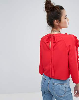 House of Holland Tie Back Top With Ruffle