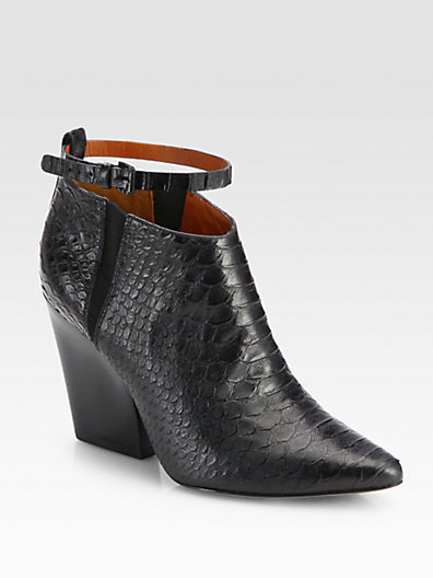 Rebecca Minkoff La Roux Snake-Embossed Leather Ankle Boots