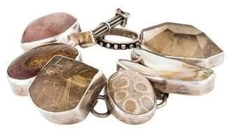 Rebecca Collins Pearl, Fossilized Coral, Ammonite, & Rutilated Quartz Bracelet
