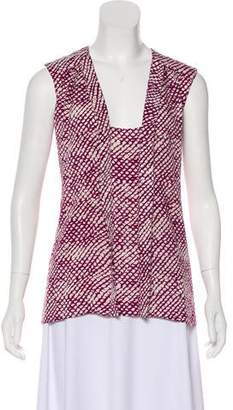 Derek Lam Sleeveless Abstract Print Top