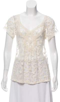 Rebecca Taylor Embroidered Mesh Top