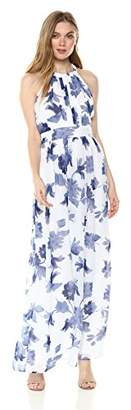 Nine West Women's Halter Maxi Dress with Pleated Bodice