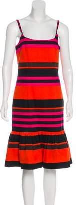 Prada Ruffled Striped Dress