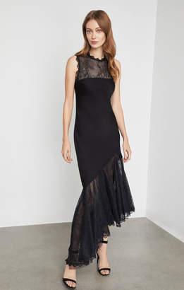 BCBGMAXAZRIA Lace Asymmetrical Cutout Dress
