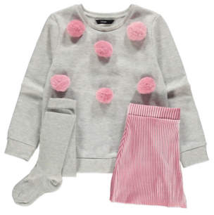 George Grey Pom-Pom Detail Sweatshirt, Ribbed Velour Shorts and Tights Outfit