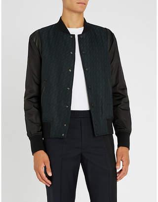 Bally Logo-embroidered geometric-print woven bomber jacket