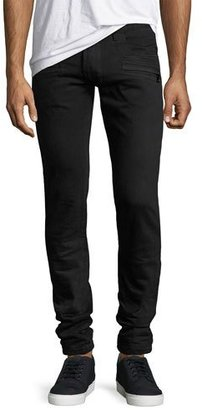 Balmain Skinny Moto Jeans, Black $787 thestylecure.com
