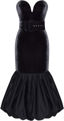 Rasario Velvet Corset Midi Dress With Satin Skirt