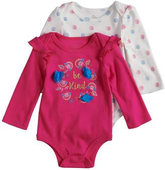 """Baby Starters Baby Girl 2-pack """"Be Kind"""" Graphic & Flower Print Bodysuits"""