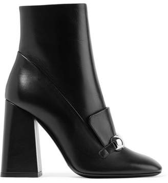 Burberry Embellished Leather Ankle Boots - Black