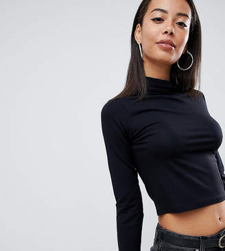 Asos Tall DESIGN Tall turtleneck crop top with long sleeve in black