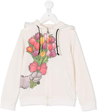 Madson Discount Kids bouquet print zipped hoodie