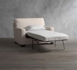 Pottery Barn Buchanan Square Arm Upholstered Twin Sleeper Sofa with Memory Foam Mattress