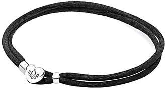 Pandora Silver Black Fabric Cord Bracelet
