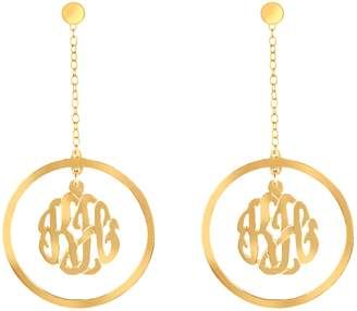 24K Yellow Gold-Plated Sterling Drop Monogram Earrings