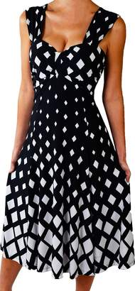 Funfash Plus Size Women Diamond White Black Slimming Cocktail Dress Made in USA (, Black,White)
