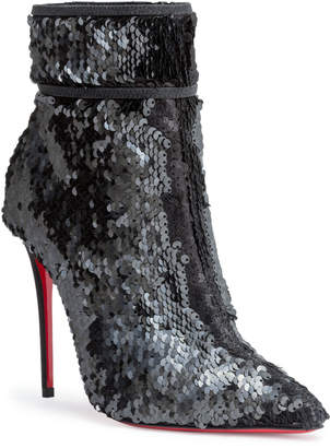 Christian Louboutin Moulakate 100 black paillette booties