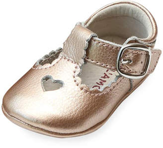 L'Amour Shoes Rosale Heart Cutout Metallic Leather Mary Jane Crib Shoes, Baby