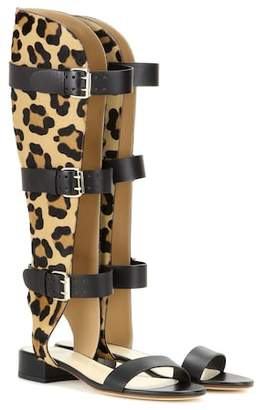 Francesco Russo Leather and printed calf hair gladiator sandals