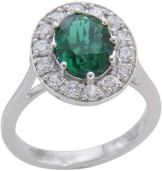 Panache Exports Cluster Halo Engagement Ring 3.54 ct Created Emerald 925 Sterling Silver Size 7