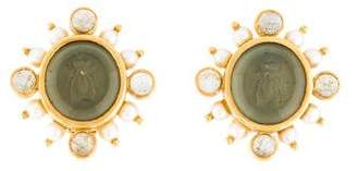 Elizabeth Locke 18K Pearl & Labradorite Intaglio Clip-On Earrings