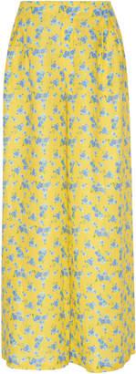 Gül Hürgel Floral-Print Linen Wide-Leg Pants