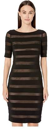 Adrianna Papell Matte Jersey Mesh Banded Sheath Dress
