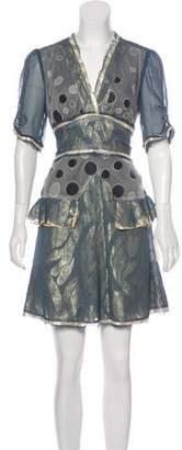 Anna Sui Embroidered Chiffon Dress