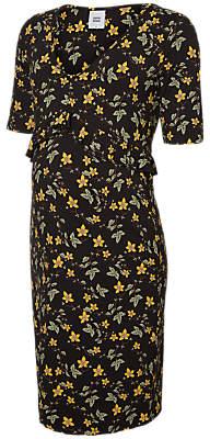 Mama Licious Mamalicious Tuva Frill Floral Maternity Dress, Black