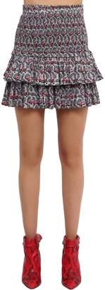 Etoile Isabel Marant Printed Cotton Voile Skirt W/ Ruffles