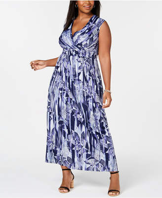NY Collection Elementz Plus & Petite Plus Size Surplice Printed Maxi Dress