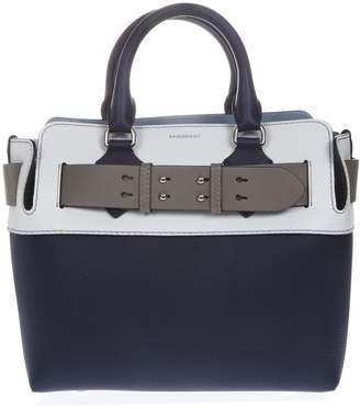 Burberry White & Blue Leather Bag
