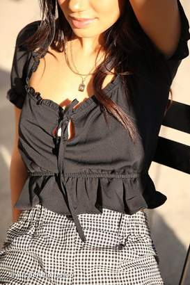 Urban Outfitters Riley Ruffle Tie-Front Blouse